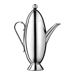 Nick Munro - TinTin Coffee Pot - Nick Munro - The shape of this coffee pot was inspired by the rocket found in the the 1930's comic, The Adventures of TinTin. Exquisitely detailed and beautifully finished in hand polished 18/10 stainless steel, designer Nick Munro has an eye for style that is unparalleled. Your coffee never looked so good! Dishwasher safe.