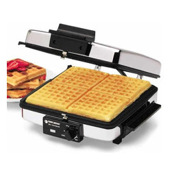 Applica - Black and Decker Grill Waffle Baker - Includes reversible nonstick grids makes cleanup easy. Opens flat into two griddle plates. Adjustable temperature knob. Grease run off channels. Power indicator light. Cool touch handles. Voltage: 900 watts. Warranty: One year