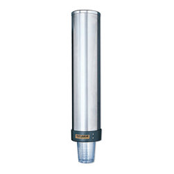 SAN JAMAR - CUP DISPENSER 12-24 OZ - • Wall-mount style; top-loading, gravity-fed. . . . . . . . Large Water Cup Dispenser with Removable Cap. Dimensions: Height: 2.0625, Length: 0.41667, Width: 0.41667. Country of Origin: CN   CAT: Foodservice Cups/Lids Dispensers