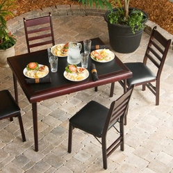 Cosco 5-Piece Bridgeport 44-Inch Wood Folding Card Table Set