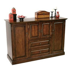 Howard Miller - Howard Miller - Bar Devino - This beautiful, quality crafted hide-a-bar console displays a warm Americana Cherry finish highlighted with Antique Brass door pulls.  Convenience features include a fixed bottle opener and removable catch basket while generous storage space can hold up to 38 wine bottles. * Raised panel doors and drawers with Antique Brass door pullsFinished on all sides for flexible placement in the roomFixed bottle opener and removable catch basket, and the towel bar attached to the inside of the cabinet's center doorsThe top surface slides open to reveal a granite work surface and removable ice sinkFeatures wood stemware rack and one adjustable wood shelf on each sideThe center of the cabinet offers additional room for storageHolds up to 38 wine bottles in the two-tiered nested bottle storage drawers with smooth running metal slidesFinished in Americana Cherry on select hardwoods and veneersAdjustable levelers under each corner provide stability on uneven and carpeted floorsPad-LockT cushioned metal shelf clips increase stability and safetyLocking door for added security40 in. H x 60 in. W x 20 in. D