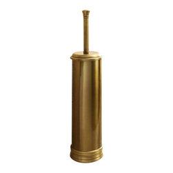 Gedy - Round Polished Bronze Toilet Brush Holder - Designer, vintage round toilet brush holder with bristle brush.