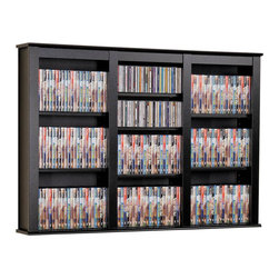 Prepac - Triple Wall Mounted Multimedia Storage in Bla - A larger scale entertainment collection will be at home in this storage unit. Mounted on the wall, it eliminates the need for extra floor space. Three compartments are designed to add display appeal, too, with adjustable shelving and a black finish. * Includes easy to install hanging rail system. Two or more units can be positioned side-by-side to increase storage. Adjustable shelves holds variety of media sizes. Capacity: 523 CDs, 213 DVDs, 408 Blu-Ray discs and 124 VHS cassettes. Warranty: Five years. Made from CARB-compliant, laminated composite woods with sturdy MDF backer. Made in North America. Minimal assembly required. 47 in. W x 8.25 in. D x 34 in. HLimited space won�۪t limit your decor and storage options with the Triple Wall Mounted Storage shelf. Manage your large collection of CDs or DVDs with style and convenience by mounting this shelf on your wall. Installation�۪s a cinch at whatever height you choose, thanks to our innovative hanging rail system. Add storage without compromising floor space in this chic package.