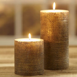 Gold Burlap Pillar Candles
