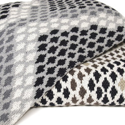 """In2green Snake Skin Knit Throw - This modern, graphic designed throw is knit with a blend of recycled cotton yarn and manufactured in the USA. The size is 50""""x 60"""" and the best part is that its machine wash & dry."""