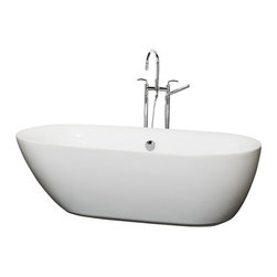 "Wyndham Collection - Wyndham Collection 71"" Melissa White Soaking Bathtub w/ Chrome Drain - The Melissa Soaking Tub is inspired by the free-form beauty of nature, with no hard edges or stark contrasts. Experience the allure of the asymmetrical shape, the smooth curves that invite your touch, and the soft flow of the lines. It's time to get organic. Built to last and always warm to the touch, the Verona Bathtubs are a perfect place to melt away tension and stress, leaving you refreshed, recharged and renewed."