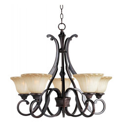 Joshua Marshal - Five Light Oil Rubbed Bronze Wilshire Glass Up Chandelier - Five Light Oil Rubbed Bronze Wilshire Glass Up Chandelier