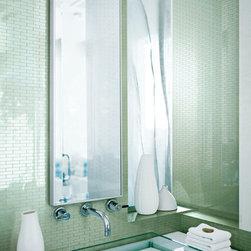"Bathrooms - Crossville Glass Blox G047 Moonbeam in a 1/2""x1"" Mosaic"