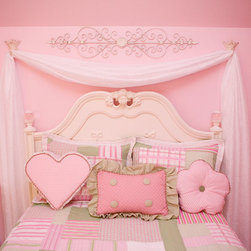 Pink and White Girl's Bedding with custom shaped pillows and white chiffon drape -