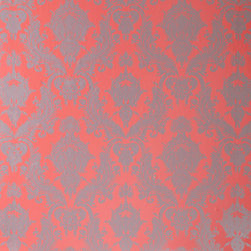 LOLLIPROPS, INC., LPI - Damsel, Coral - This classic design with a modern color palette is perfect for a feminine space. If you're renting you can simply peel and stick this pretty pattern on a wall. When it comes time to move, just remove it to reveal the unharmed paint. It's a great temporary design solution.