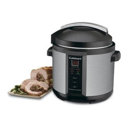 Cuisinart CPC-600 6 Quart Electric Pressure Cooker - Cuisinart updates a classic! The Cuisinart CPC-600 Electric Pressure Cooker is safe easy to use cooks up to 70% faster than conventional methods and cooks more healthfully too. Steam trapped in the pot builds up pressure that creates hotter temperatures and the pot is so tightly sealed that vitamins and minerals can't boil away. Foods stay moist and flavors stay true. Features variable pressure and temperature settings plus Browning Simmering and Saute functions for perfect roasts stews vegetables cheesecake or custard. The Cuisinart Pressure Cooker is absolutely safe with a lid that has to be locked in place before pressure builds and stays locked until pressure is released. Cook faster and eat more healthfully with Cuisinart! Additional Features 6-quart capacity Fingerprint-proof brushed stainless steel housing Digital thermostat Push-button control for cooking options and programmed settings: Low & High Pressure Browning Simmer Saute and automatic Keep Warm Settings Cool-touch side handles Non-stick cooking pot Trivet included Dishwasher-safe cooking pot and trivet 1000 watts Limited 3-year warranty About CuisinartOne of the most recognized names in cookware and kitchen products Cuisinart first became popular when introduced to the public by culinary experts Julia Child and James Beard. In 1973 the Cuisinart food processor revolutionized the way we create fine food and healthy dishes and since that time Cuisinart has continued its path of innovation. Under management by the Conair Corporation since 1989 Cuisinart is a universally celebrated name in kitchens across the globe. With a full-service product line including bakeware blenders coffeemakers cookware countertop appliances kitchen tools and much much more Cuisinart products are preferred by chefs and loved by consumers for durability ease of use superior quality and style.