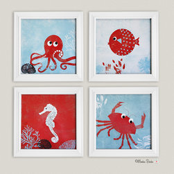 "Under the Sea Set of 4 Nursery Art Prints by Monkie Birdie - ""Under The Sea"" nursery original art print set of 4 is perfect for a little boy or a little girl's room."