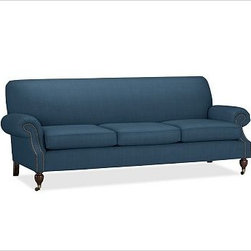 "Brooklyn Upholstered Sofa, Brushed Canvas Harbor Blue - Our Brooklyn sofa is distinguished by its smart, tailored look. Crafted in America with impeccable style and sink-in comfort, it has pleated roll arms that are outlined with antique-bronze nailheads and a scooped design that maximizes legroom. 87"" w x 36"" d x 34"" h {{link path='pages/popups/PB-FG-Brooklyn-3.html' class='popup' width='720' height='800'}}View the dimension diagram for more information{{/link}}. {{link path='pages/popups/PB-FG-Brooklyn-4.html' class='popup' width='720' height='800'}}The fit & measuring guide should be read prior to placing your order{{/link}}. Polyester-wrapped cushions have a tailored and neat look. Proudly made in America, {{link path='/stylehouse/videos/videos/pbq_v36_rel.html?cm_sp=Video_PIP-_-PBQUALITY-_-SUTTER_STREET' class='popup' width='950' height='300'}}view video{{/link}}. For shipping and return information, click on the shipping info tab. When making your selection, see the Special Order fabrics below. {{link path='pages/popups/PB-FG-Brooklyn-5.html' class='popup' width='720' height='800'}} Additional fabrics not shown below can be seen here{{/link}}. Please call 1.888.779.5176 to place your order for these additional fabrics."