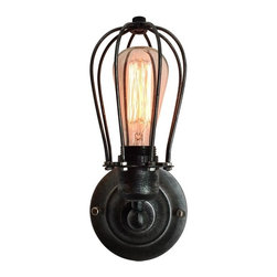 WestMenlights - Black Cage Wall Sconce - Materials: Vintage Iron, Aged Steel