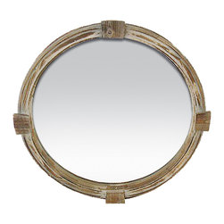 Sterling Industries - Portsmouth Mirror - The Portsmouth is a great design that seems to come from the bow of a great wooden ship.  The distressed wood frame has grey tones mixed with the wood grain.  A wonderful mirror that will surly give an element of the salty seas from which it came.
