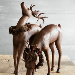 Horchow - Standing Deer with Pine Cone Wreath - Exclusively ours. We love the composure of these brown-hued standing and grazing deer. Each deer is draped with a prelit pine cone wreath, offering a subtle glow. Place in a hallway to greet guests or in any room to admire the beauty of nature. Made...