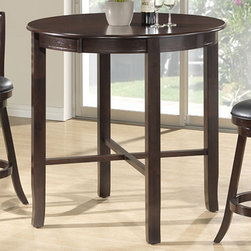 None - Cappuccino Ash Veneer 42-inch Diameter Bar-height Dining Table - Create a charming dining area with this bar-height dining table showcasing a rich cappuccino finish. This 42-inch diameter table offers a durable construction, a thick round top with large apron, and a sturdy wood legs.