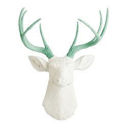 White Faux Taxidermy - The Isabella - White Faux Resin Deer Head w/Seafoam Green Antlers - Measurements: