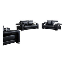 VIG Furniture - 2926 Black Bonded Leather 3 Piece Sofa Set - The 2926 sofa set is a great addition for any living room that needs a touch of modern design. This sofa set comes upholstered in a beautiful white bonded leather. High density foam is placed within the cushions for added comfort. Each piece features a open arm design that adds to the overall look of the sofa set. A matching coffee table comes included. The sofa set includes a sofa, loveseat, chair, and coffee table only.