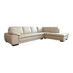 Baxton Studio - Baxton Studio Diana Beige Sofa/Chaise Sectional - Modern leather sectional sofa with chaise and plenty of seating area.  This sofa set is so versatile that it can set well with both a traditional and modern d???cor.  Interior frame built to last with sturdy construction consisting of kiln dried hardwood, with high density foam padding.  Luxurious top grain leather is featured on all the seating surfaces that touch you completes with leatherette on the back and side for longer lasting use and stain resists for easy clean up.  Leg constructed with solid rubber wood with veneer finish completes with elegant smooth, clean lines design.  The perfect combination of quality craftsmanship with simple and sophisticated designs, that will instantly enhance any room decor.