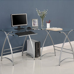 None - L-Shape Glass Corner Computer Desk - This contemporary desk offers a sleek, modern design crafted from durable steel and thick, tempered safety glass. The L-shape provides a corner wedge ideal for space-saving needs that is both attractive and simple.