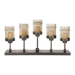 Uttermost - Uttermost Lamya Candelabra Candle Holder X-96591 - Hand forged metal finished in antiqued bronze with transparent, copper brown glass globes. White candles included.