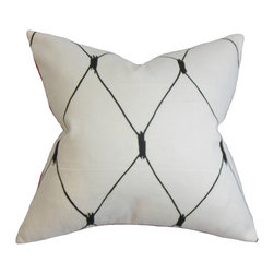 The Pillow Collection - Alune Geometric Pillow Black White - Distinctive and sleek, this accent pillow brings life and dimension to your interiors. This square pillow lends a modern accent to your living room or bedroom with its geometric pattern in black and set against a white background. It easily incorporates with any decor themes and settings making it a perfect statement piece. Made from a blend of 95% cotton and 5% linen material. Crafted in the USA. Hidden zipper closure for easy cover removal.  Knife edge finish on all four sides.  Reversible pillow with the same fabric on the back side.  Spot cleaning suggested.