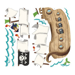 RoomMates Peel & Stick - Pirate Ship Giant Wall Decal - Ahoy, matey! This pirate ship and its friendly captain are sure to delight little treasure-hunters and junior explorers of the seven seas. Each set of wall decals includes a large pirate ship, waves, fish and even a mermaid tail peeking out from beneath the water! Every pre-cut element can be applied in a matter of moments, and removed or repositioned at any time. Great for kids rooms, playrooms, or even classrooms!