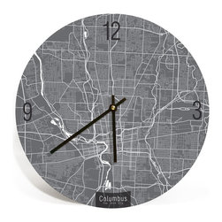 """ArtnWalls - COLUMBUS, OHIO, MAP ART Wall Clock - Unique Contemporary Art Wall clock, 11"""" - Abstract COLUMBUS, OHIO, map art - Features the streets of the City of Arch."""