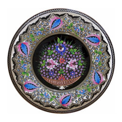 Decorative Copper Collector Plate - Unique 100% copper display plate is hand made in Turkey.  Features a common Turkish floral pattern that is engraved into the copper by hand and then painted.  A bright, colorful accent, can be displayed alone or within a grouped wall arrangement.  Add an easel and display on a shelf or table.  Copper plate is 13-1/4 inches diameter.