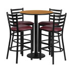 Flash Furniture - Flash Furniture Restaurant Furniture Table and Chairs X-GG-7201BRSR - 30'' Round Natural Laminate Table Set with 4 Ladder Back Metal Bar Stools - Burgundy Vinyl Seat [RSRB1027-GG]