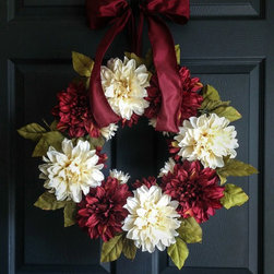 Fall and Christmas Wreath by HomeHearthGarden - Enhance your front door with a handmade wreath for the holiday season from Home Hearth Garden. Made with artificial cranberry color and soft white Dahlias with large satin bow. This wreath is beautiful to display year-round on door or over the fireplace mantle.