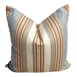 Pillow Fever - Stripe Cotton Pillow Cover in Blue, Red and Off White. - Pillow insert is not included!