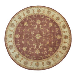Rajasthan Rug, Chocolate Brown Silk Flower 10'X10' Round Hand Knotted Rug SH9120 - Agra & Rajasthan Hand Knotted Rugs have Persian inspired floral motifs.  They are hand knotted from India and usually consists of 100% Wool.  The colors usually consists of Blacks, Deep Reds, Browns, & Greens.