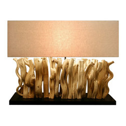 Scandinavian design - Sculptured Vertago Vine Console Lamp - Sculptured table lamp made of twisted Naturally vine wood crafted to line up evenly on the base to make it look warm and unique