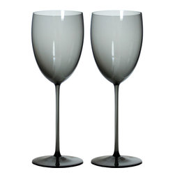 Martinka Crystalware & Lifestyle - Dusk to Dawn Wine Glasses - This sultry duo will spark up romance. Each wine glass is handmade from ultra light weight glass and exhibits varying shades of grays. Whether you want a fun way to drink your red or white wine or unique glasses for home entertaining, this set will elevate every experience.