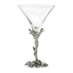 Acorn Leaf/Oak Cocktail Glass - Organic and fantastical, the Acorn and Oak Leaf Cocktail Glass lets the familiar inverted cone of the classic martini glass grow naturally from a winding pillar of oak twigs, complete with their realistically-modeled leaves and a few acorns lying at the foot.  This exquisite glass and pewter showpiece is enough on its own to make a convivial evening poetic.
