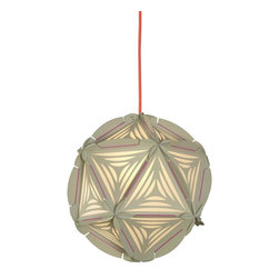 Control Brand - The Como Greige - The Como Greige is a decorative, globular pendant, and is made from twenty Paper triangles; colorful rubber bands hold the structure together. The individual Paper elements are cut at the edges in arcs and have two incisions to hold the rubber bands in place. In combination with the feather cuts, the patterns and perforations in the Paper triangles create a beautiful play of light and shadow. Ceiling power cord is not included.