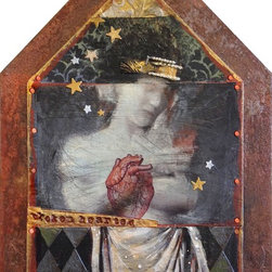Broken Hearted, Original, Mixed Media - The stars fall from the sky as we wrap our arms around our self in a hug when our heart is broken. this unusual mixed media piece by darlene olivia mcelroy is painted on vinyl adhered to panel with collage and embossed images.