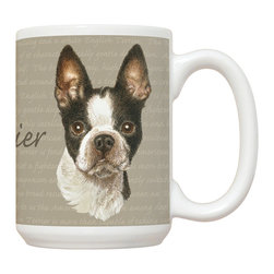 445-Boston Terrier Mug - 15 oz. Ceramic Mug. Dishwasher and microwave safe It has a large handle that's easy to hold.  Makes a great gift!