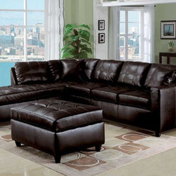 Leather Sectional Sofas - ACM- 15200 Contemporary Button Tufted Espresso Leather Sectional Sofa