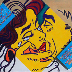 Goodbye Kiss (Original) by Kellie Langewisch - This painting is a take on the famous painter, Lichtenstein's work. I combined two smaller canvases to the edges of the larger canvas with text describing war from a different Lichtenstein piece. The couple is hugging goodbye in a strong state of emotion.