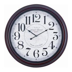 "COOPER CLASSICS - Calhoun 24.5"" Wall Clock - Mahogany Finish."
