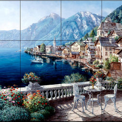The Tile Mural Store (USA) - Tile Mural - Hallstatt Austria - Kitchen Backsplash Ideas - This beautiful artwork by Sam Park has been digitally reproduced for tiles and depicts a view of the Austrian coastline from a balcony.  Waterview tile murals are great as part of your kitchen backsplash tile project or your tub and shower surround bathroom tile project. Water view images on tiles such as tiles with beach scenes and Mediterranean scenes on tiles Tuscan tile scenes add a unique element to your tiling project and are a great kitchen backsplash idea. Use one or two of our landscape tile murals for a wall tile project in any room in your home for your wall tile project.