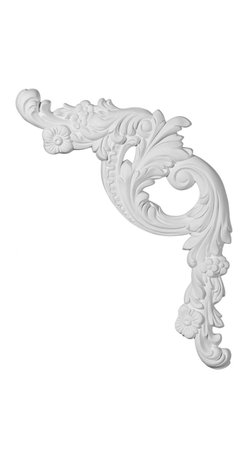 """Ekena Millwork - 16 1/2""""W x 18 1/8""""H x 1 1/4""""P Tirana Panel Moulding Corner, Right - 16 1/2""""W x 18 1/8""""H x 1 1/4""""P Tirana Panel Moulding Corner, Right. Our beautiful panel moulding and corners add a decorative, historic, feel to walls, ceilings, and furniture pieces. They are made from a high density urethane which gives each piece the unique details that mimic that of traditional plaster and wood designs, but at a fraction of the weight. This means a simple and easy installation for you. The best part is you can make your own shapes and sizes by simply cutting the moulding piece down to size, and then butting them up to the decorative corners. These are also commonly used for an inexpensive wainscot look."""