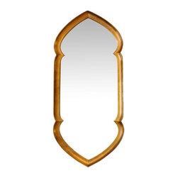 Used Unique Giltwood Mirror Attributed to Labarge - This giltwood mirror has a unique shape that, combined with the gilt, is reminiscent of a Moroccan aesthetic. However, all of the physical attributes of the piece are characteristic of Labarge Mirrors (the fact that the frame is gilt wood, as opposed to composite, and the detail of the frame itself). There is wear consistent with age to the frame, but the mirror overall is in great, vintage condition.