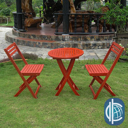 International Caravan - International Caravan Acacia Hardwood 3-piece Folding Bistro Set - Add a touch of classic elegance to your patio furnishings with this folding bistro set. This gorgeous set features a sturdy acacia hardwood build and your choice of three wood stain finishes.