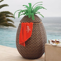 Frontgate - Pineapple Towel Hamper - This outdoor pineapple hamper for the pool is sensational!