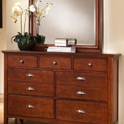Vaughan Bassett - 7-Drawer Triple Dresser Set in Cherry Finish - Includes triple dresser and landscape mirror. Triple dresser:. 7 Drawers. 56 in. W x 18 in. D x 41 in. H. Landscape mirror:. Beveled glass. 35 in. L x 3 in. W x 39 in. H. Cherry finish. Assembly required