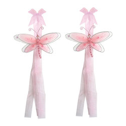 "Bugs-n-Blooms - Dragonfly Tie Backs Pink Multi-Layered Dragonflies Tieback Pair Set Decorations - Window Curtains Holder Holders Tie Backs to Decorate for a Baby Nursery Bedroom, Girls Room Wall Decor - 5""W x 4""H Pink & White Multi-Layered Curtain Tieback Set Dragonfly 2pc Pair - Beautiful window curtains tie backs for kids room decor, baby decoration, childrens decorations. Ideal for Baby Nursery Kids Bedroom Girls Room.  This gorgeous 3D dragonfly tieback set is embellished with sequins, glitter and has a beaded body. This pretty dragonfly decoration is made with a soft bendable wire frame & have color match trails of organza ribbons. Has 2 thick color matched organza ribbons to wrap around the curtains.  Visit our store for more great items. Additional styles are available in various colors, please see store for details. Please visit our store on 'How To Hang' for tips and suggestions. Please note: Sizes are approximate and are handmade and variances may occur. Price is for one pair (2 piece)"